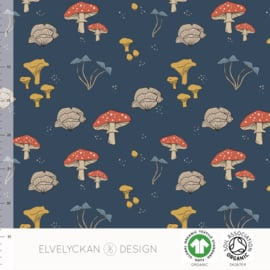 Elvelyckan design | tricot | Mushrooms - Blue  | Organic