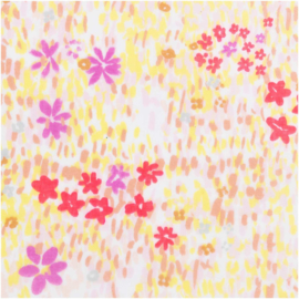 Katoen Print | Double Gauze | White-Flower meadow-neon | Rico-Design