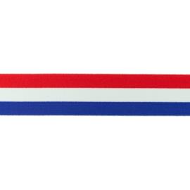 Elastiek | Polyamide | Vlag   rood wit blauw