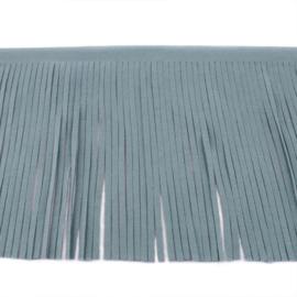 Suedine franjeband | Grijsblauw | 12 cm breed