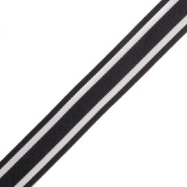 Band Streep | Zwart - Wit | 2,5 cm breed