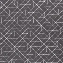 Katoen Print | Swafing -  Geometric  - Dark Grey