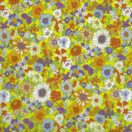 Kokka |  Retro Collection | Lawn |  Flowers -  Yellow  - Blue