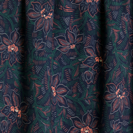 Atelier Jupe | Flower Large  | Green Leaves and Soft Pink Flowers -  Viscose