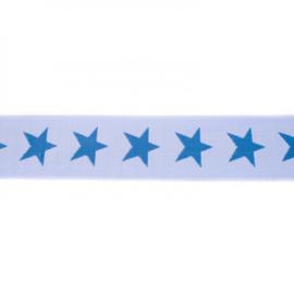 Elastiek  | 4 cm breed | Lichtblauw - Koningsblauw
