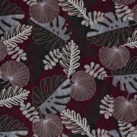 Viscose - Tropical Leaves - Bordeaux Grey
