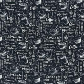 Katoen Print | Swafing -  Coffee  - Black