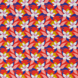 Swafing Tricot Print | Tropical Flowers - Coral