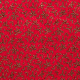 Katoen - Kerst | Rood  - Hulstblaadjes
