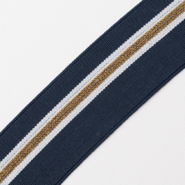 Elastiek   Streep | 4 cm breed | Navy - Ecru - Gold Lurex