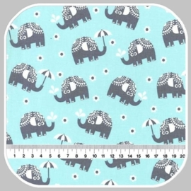 water for elephants on cotton flannel FX6288-AQUA