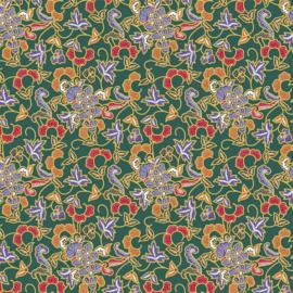 Katoen print   Indonesian style Batik   Green
