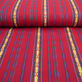 decostof |  Mexicaans multicolor rood - gele streep
