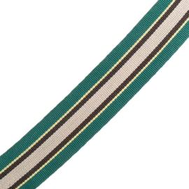 Band Streep | groen - geel - zwart - beige | 2.5 cm breed