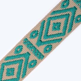 Band Jaquard | Rhombus & dots | ecru - turquoise  | 4 cm breed