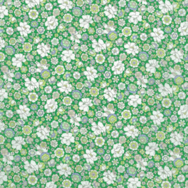 Kokka |  Retro Collection | Lawn |  Flowers -  Green - Light Blue