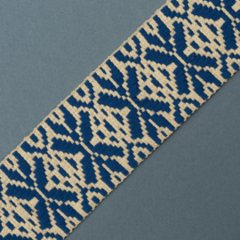 Band Jaquard | Snow Flake  woven |  ECRU - ROYAL BLUE  |  5 CM breed