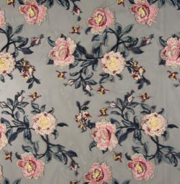 Tule - Zwart - Geborduurd - Embroidery - Roses