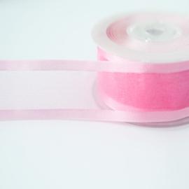 Organza lint | 25 mm | Roze