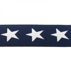 elastiek band- ster donker blauw/ 4 cm