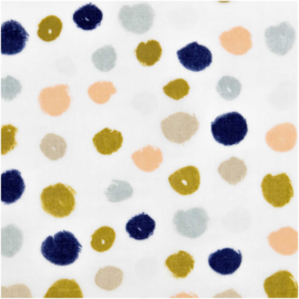 Katoen Print | Double Gauze | Grey-Big dots-Metallic | Rico-Design