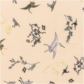 Katoen Print | Rico Design | Kraanvogel | Beige