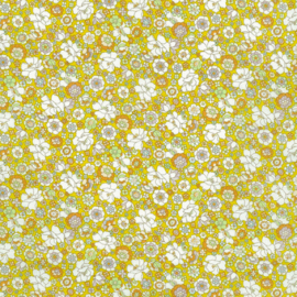 Kokka |  Retro Collection | Lawn |  Flowers -  Rust - Yellow