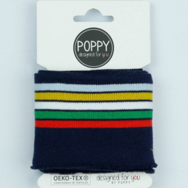 Tricot boord | Kaart | 135 cm lang  | Navy - Multicolor