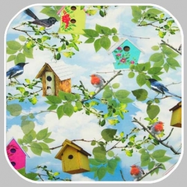 tricot bird house digitale print KC7502-041