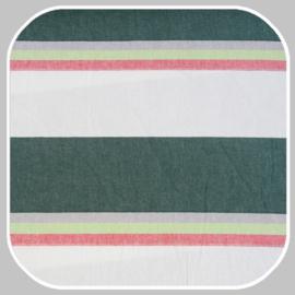 katoen   streep breed    groen-rood-wit