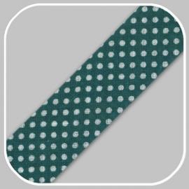 donkergroen met polka dot -20mm/ per meter