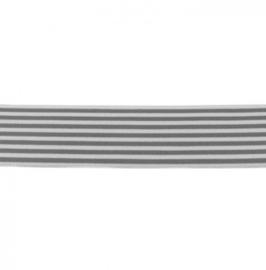 Elastiek Gestreept | 4 cm Breed | Grijs - Wit