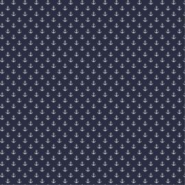 Katoen Print | Anker - Navy