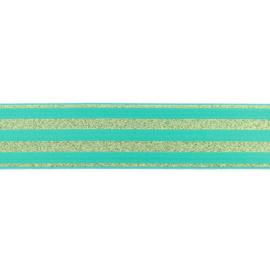 Elastiek | 4 cm breed | Mint  met Glitter - Goud