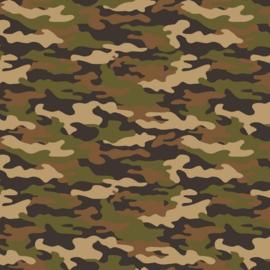 Katoen Print Army  |  Brown - Green