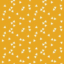 katoen print   triangel   geel