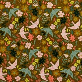 Babycord - Flowers and Birds - Ochre
