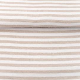 tricot boordstof streep | zand