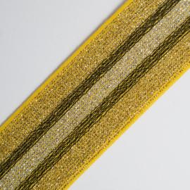 Elastiek Streep | double face | yellow - black - gold lurex | 5 cm breed