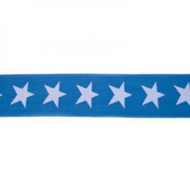 Elastiek  | 4 cm breed | Koningsblauw - Lichtblauw