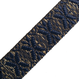 Band Jaquard |  Black Base - Blue  - Gold  Lurex | 4 cm breed