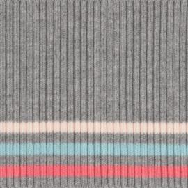 Tricot boord   Grijs - Roze - Lichtblauw   Dunne streep