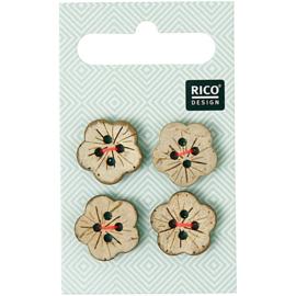 Rico Design | Houten Knoopjes -  Bloem - 4 stuks - 1,6 cm