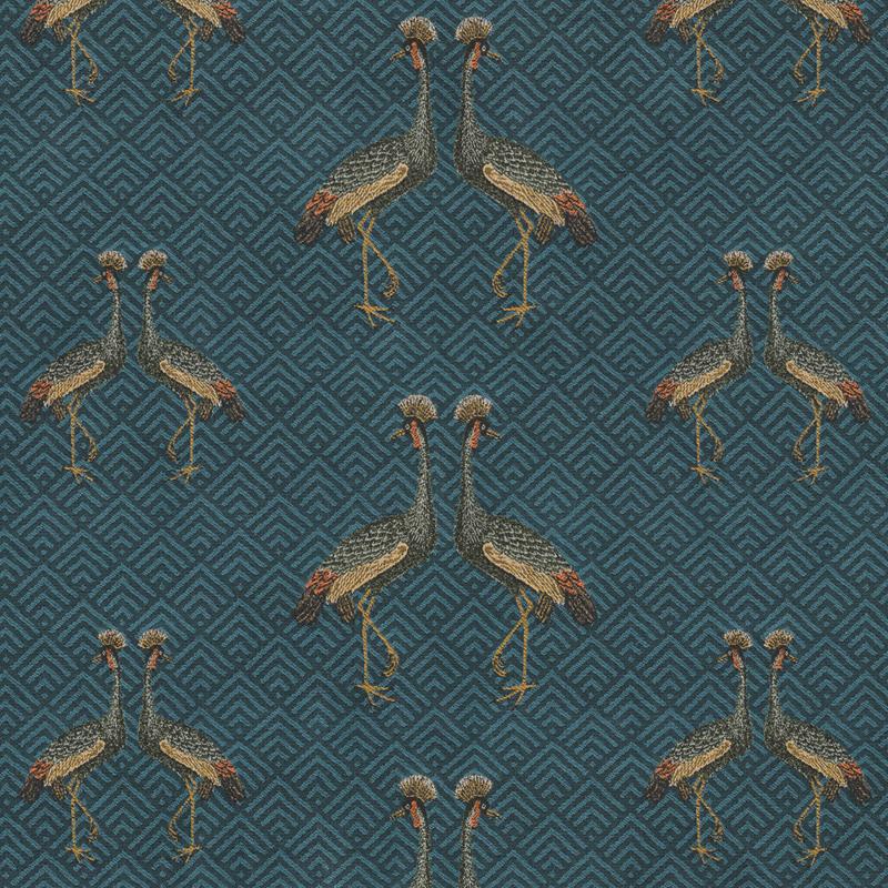 Jaquard Double Face   Kingdom Birds   Petrol