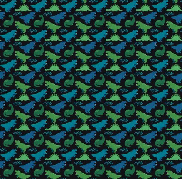 Katoen Print | Swafing -  Dino  -  Blue - Green Black