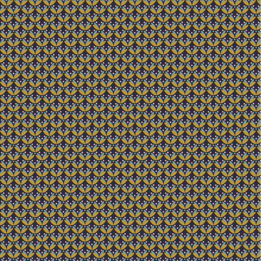 Katoen Poplin   Graphic  - Navy - Ochre