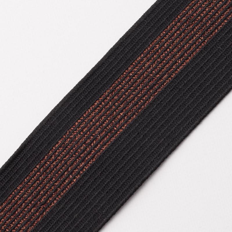 Elastiek Streep   5 cm breed   Black - Copper Lurex