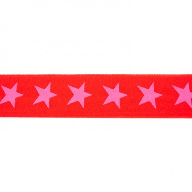 Elastiek  | 4 cm breed | Rood - Roze