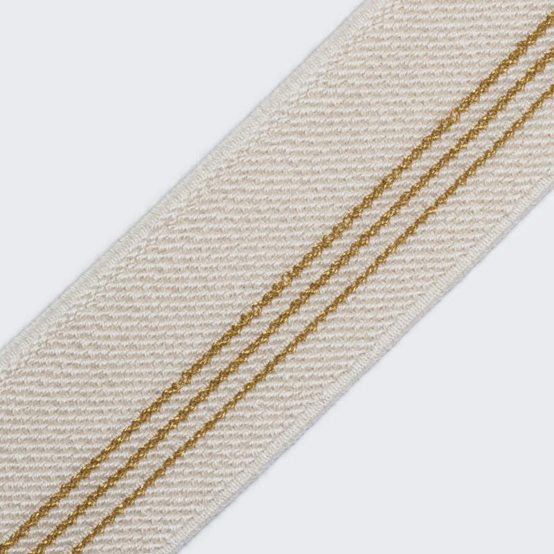 Elastiek  Streep| 5 cm breed | Ecru - Gold
