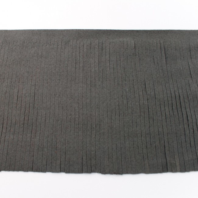 Suedine franjeband   Donkergrijs    12 cm breed